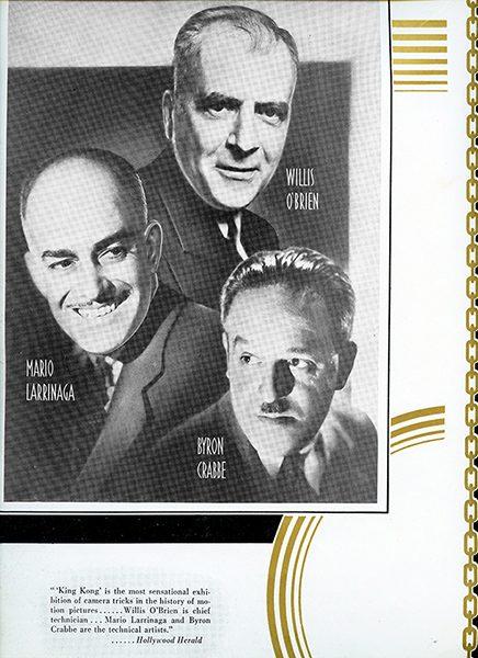 Willis O'Brien, Mario Larrinaga, and Byron Crabbe on a newspaper clipping