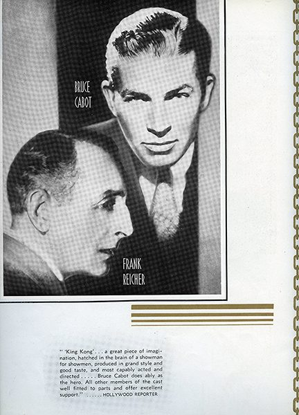 A newspaper cutout featuring Bruce Cabot and Frank Reicher, and Hollywood Reporter's review of King Kong