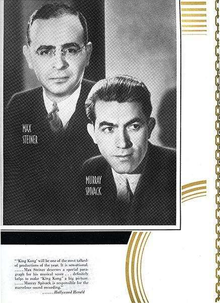 Newspaper clipping featuring Max Steiner and Murray Spivack